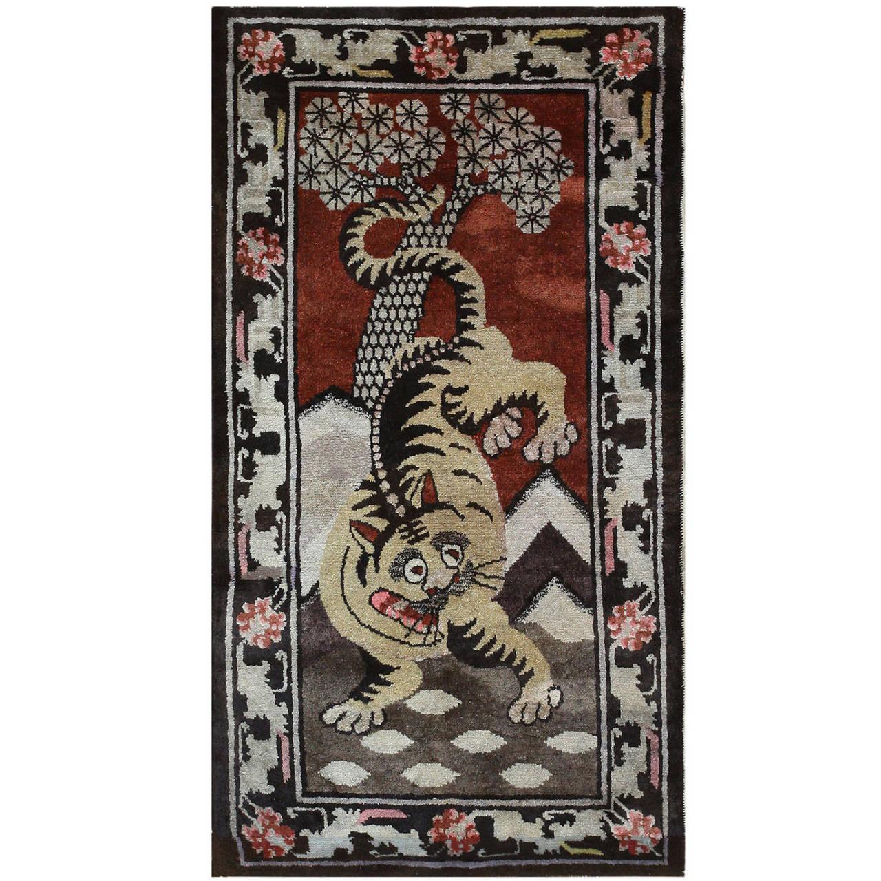 Antique Tibetan Rug with Tiger Design For Sale