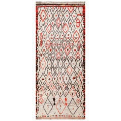 Rare White and Red Vintage Moroccan Carpet