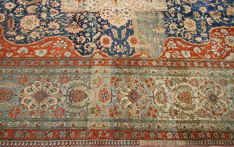 Antique Oriental Persian Mohtasham Kashan Rug Carpet At
