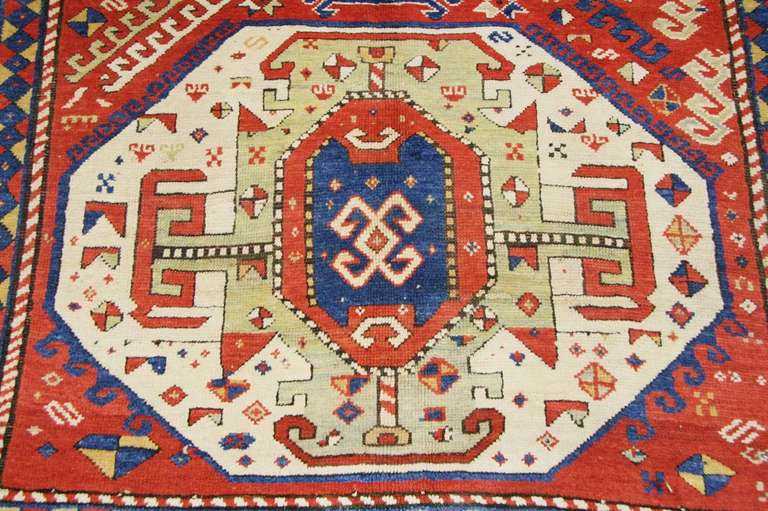 Antique Caucasian Tribal Kazak Rug Or Carpet In Good Condition For New York