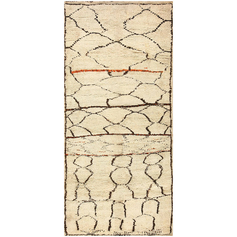 Ivory and Black Beni Ourain Moroccan Rug