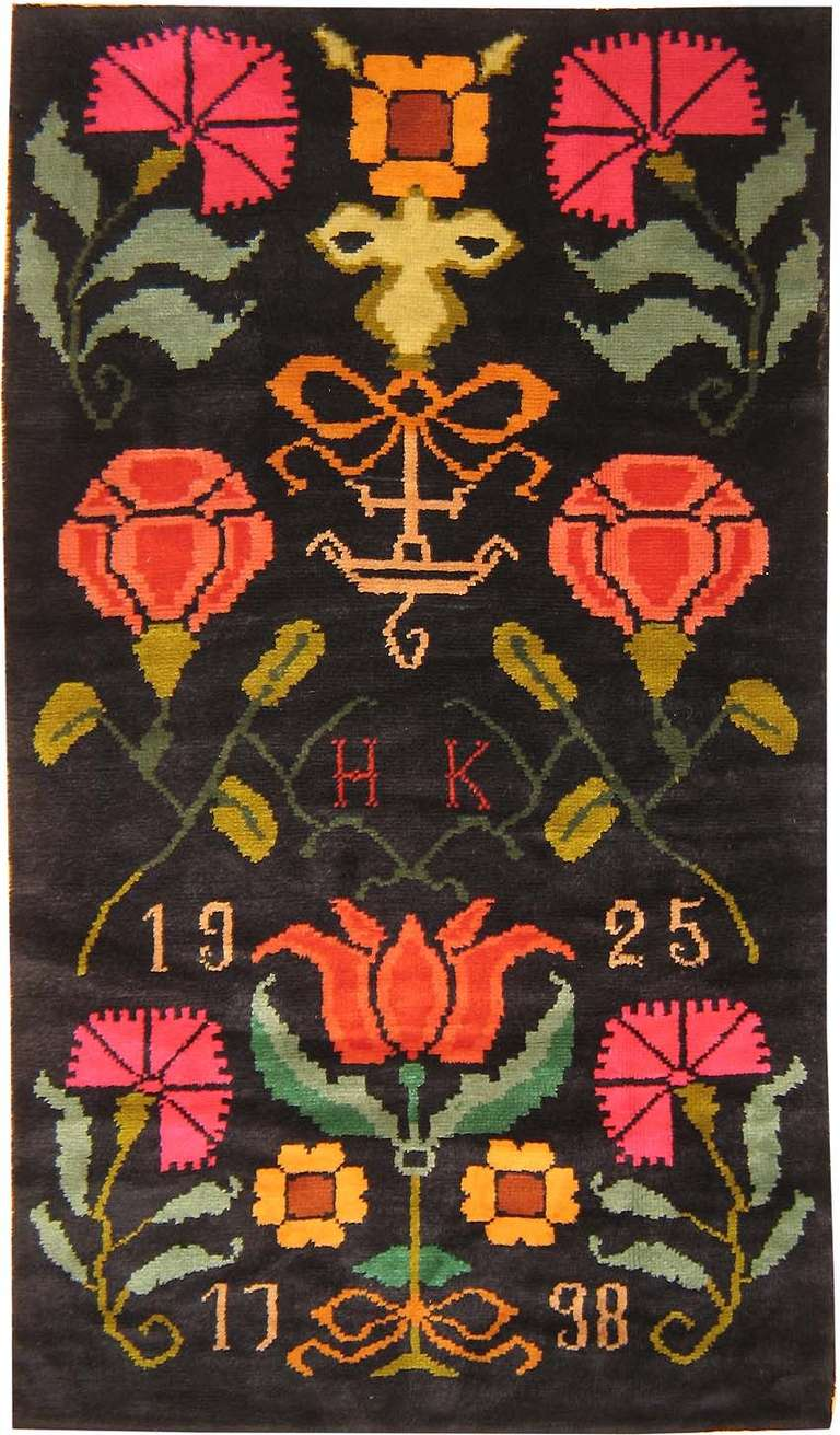 Antique Scandinavian Rug Signed H K At 1stdibs
