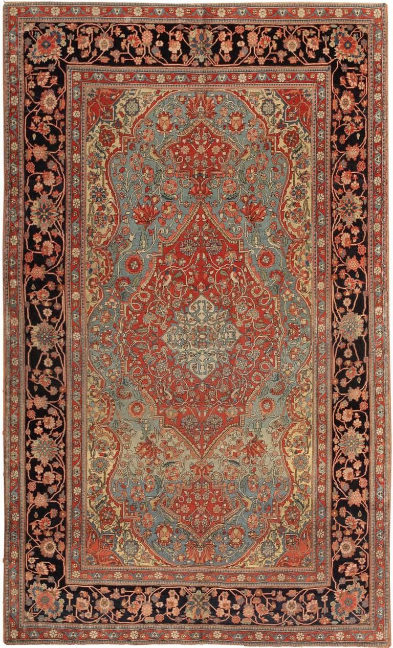 Antique Kashan Rug By Mohtashem At 1stdibs