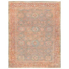 Antique Grey Blue Background Persian Sultanabad Rug