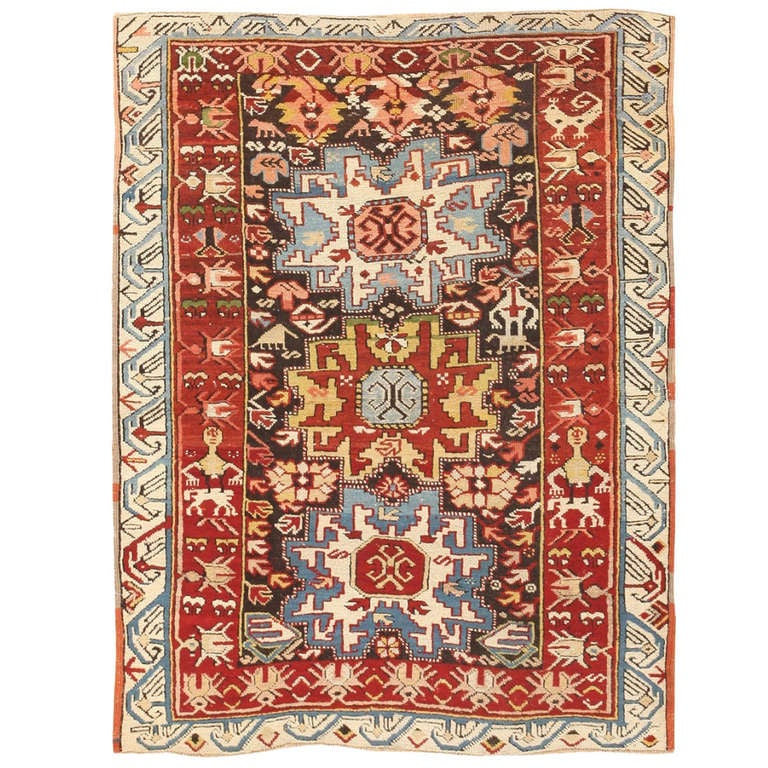 Antique Kazak Caucasian Rug At 1stdibs