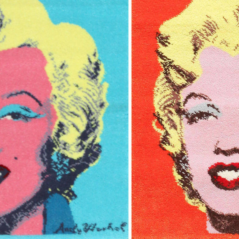 Ege Art Line Rug: Pair Of Two Ege Art Rugs Of Marilyn Monroe After Andy