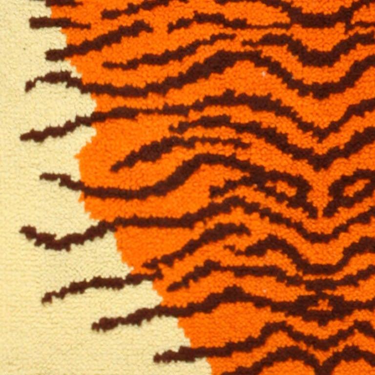 Animal Pelt Design Vintage Swedish Rya Rug, Country of Origin: Scandinavia, Circa Date: Mid 20th Century. Size: 3 ft 2 in x 4 ft 10 in (0.97 m x 1.47 m)  Here is a unique and intriguing vintage carpet - a mid-20th century carpet woven in