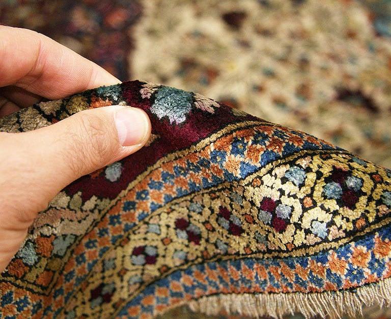 Antique Silk Mohtasham Kashan Rug 2