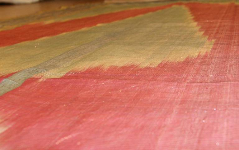 Antique Silk Uzbek Ikat Textile Embroidery In Excellent Condition For Sale In New York, NY
