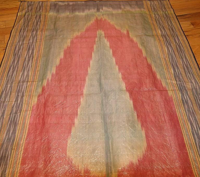 Antique Silk Uzbek Ikat Textile Embroidery For Sale 2