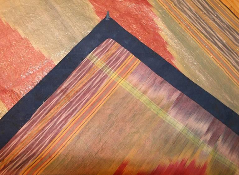 Hand-Woven Antique Silk Uzbek Ikat Textile Embroidery For Sale