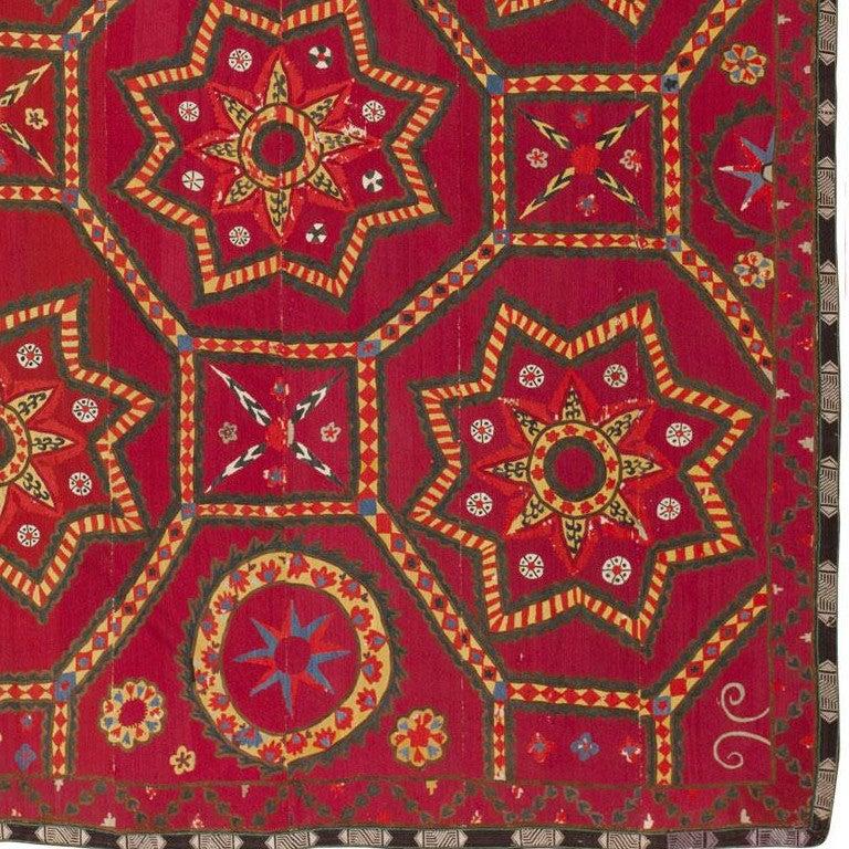 19th Century Antique Uzbeki Suzani Textile For Sale