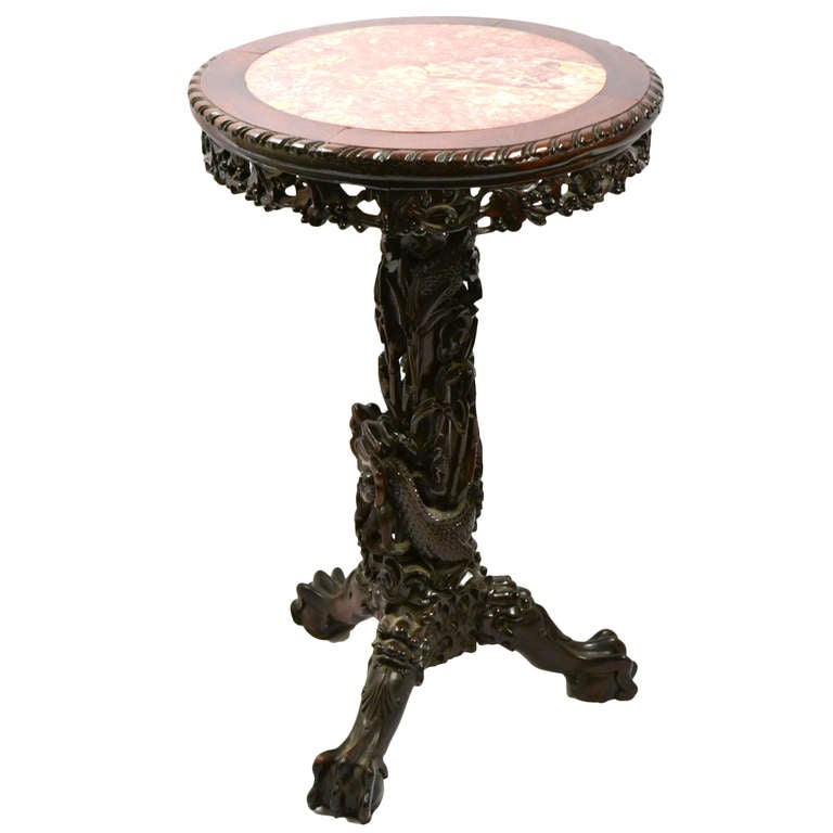 Elaborately Carved Qing Dragon Table With Marble Top At