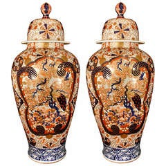 Pair of 19th Century Imari Porcelain Vases