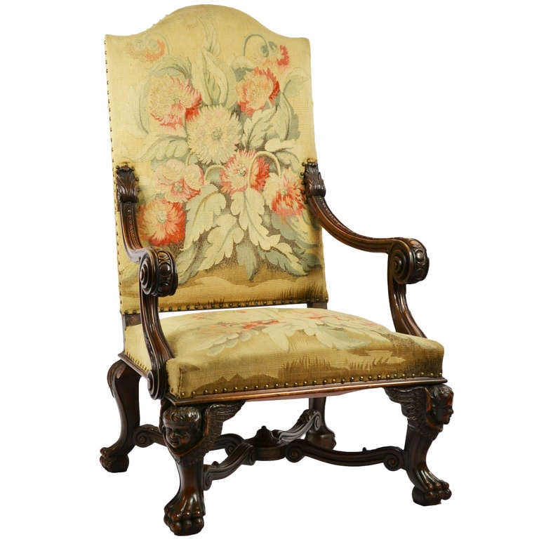 French carved walnut tapestry armchair with putti at 1stdibs - Growing french walnuts for a profit ...