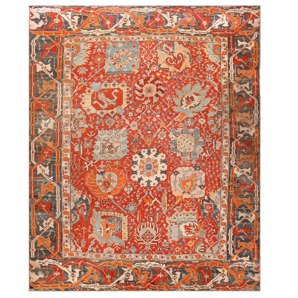 Antique turkish oushak rug at 1stdibs for Turkish rugs