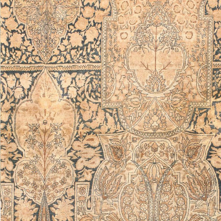 Hand-Knotted Antique Kerman Carpet For Sale