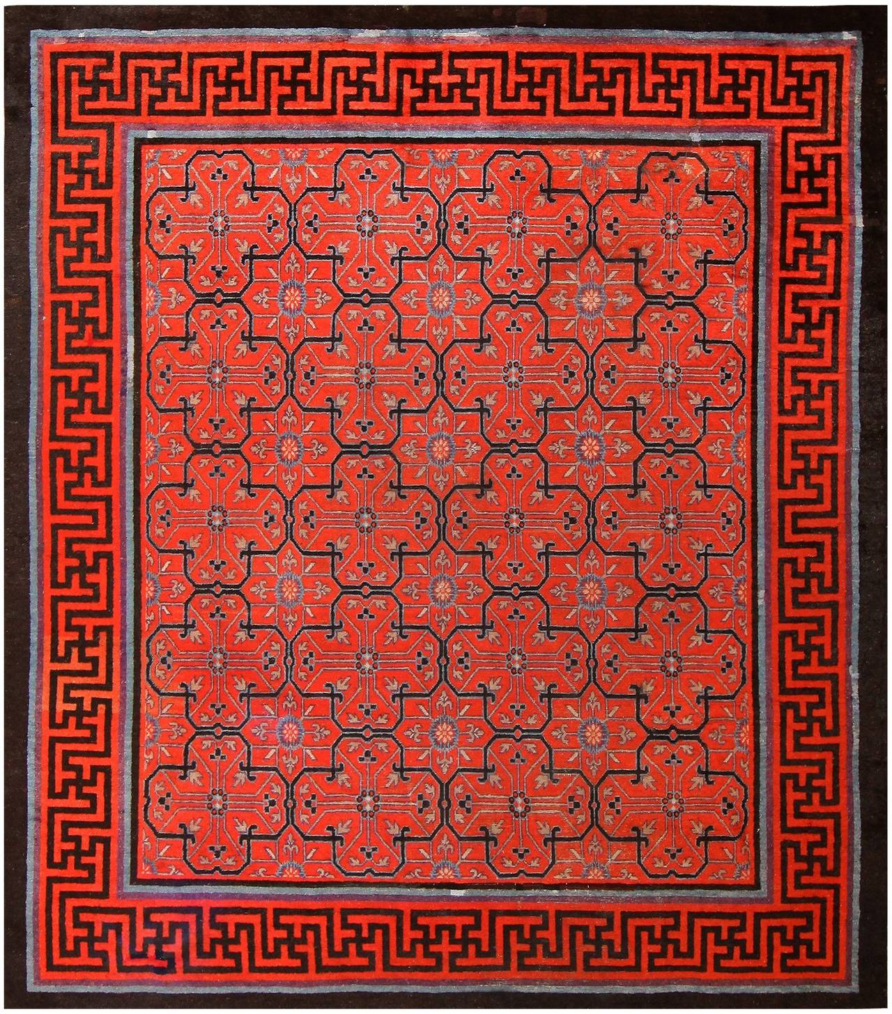 Early 18th Century Antique Chinese Geometric Rug At 1stdibs