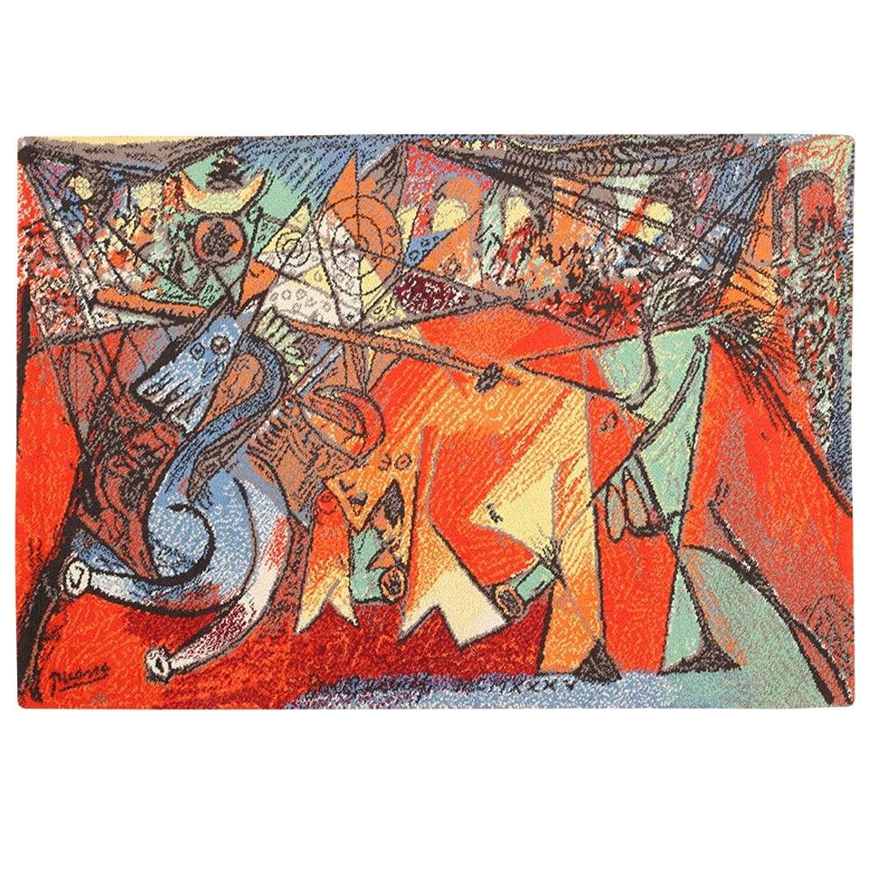"Vintage Ege Art Rug after Pablo Picasso's ""Running of the Bulls"""