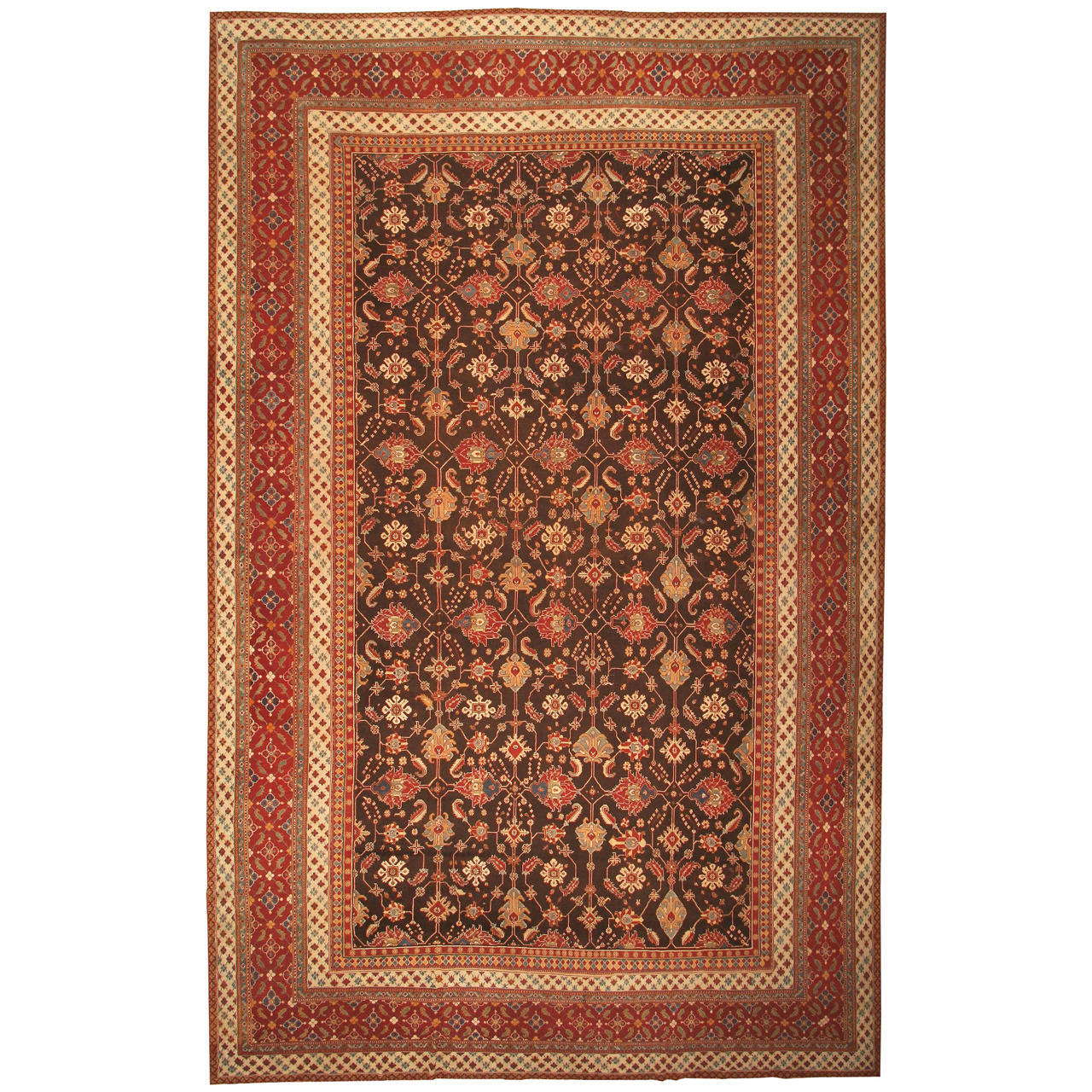 Antique Oriental Indian Agra Rug Or Carpet For Sale At 1stdibs