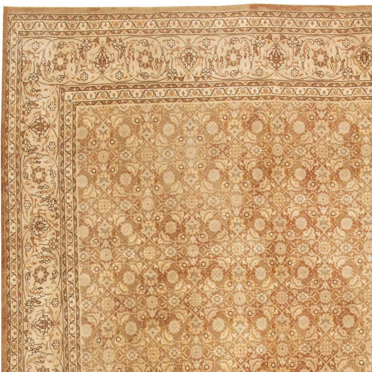 20th Century Shabby Chic Antique Tabriz Persian Rug For Sale