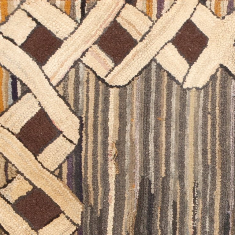 Hand-Woven Antique Hooked American Rug For Sale