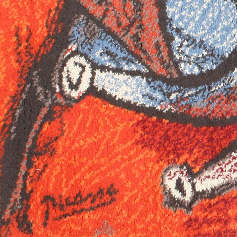 """Ege Art Line Rug: Vintage Ege Art Rug After Pablo Picasso's """"Running Of The"""