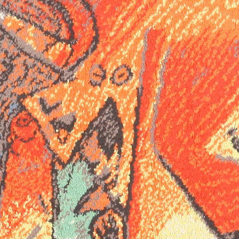 "Vintage Ege Art Rug After Pablo Picasso's ""Running Of The"
