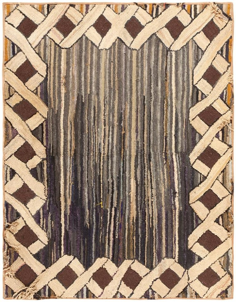 Antique Hooked American Rug For Sale