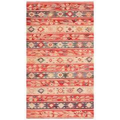 Antique Romanian Bessarabian Flat-Weave Rug