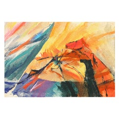 """Vintage Tapestry: """"Horses in Gale"""" by Ana Piksiades. Size: 4' 8"""" x 6' 10"""""""