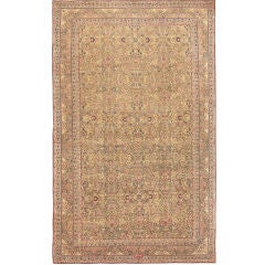 Light Brown Background Antique Kerman Carpet