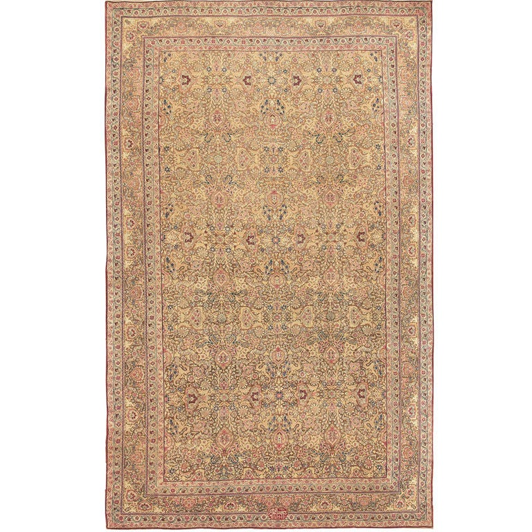 Light Brown Background Antique Kerman Carpet