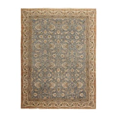 Antique Wool and Silk Tehran Rug