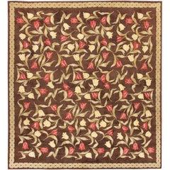 Magnificent Floral Brown Antique Savonnerie Rug