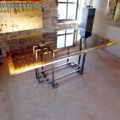 Glass and Brass Italian Dining Table