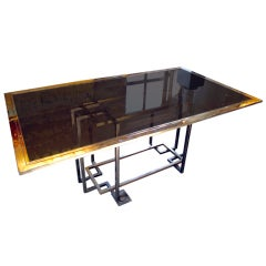 Glass & Brass Italian Dining Table