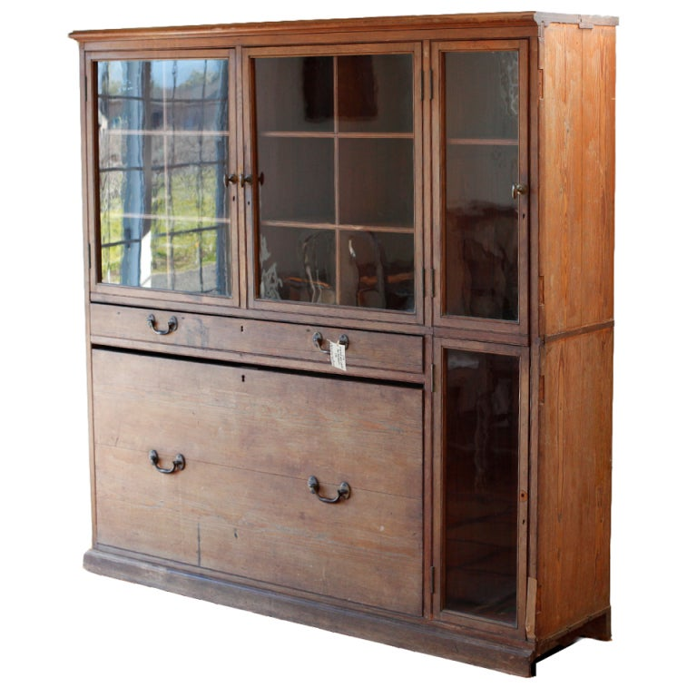 Pitch Pine Arms Cabinet, England c. mid 19th century