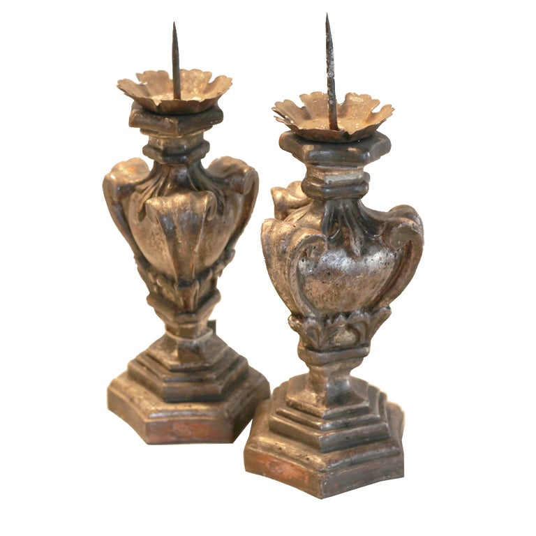 Silver Gilded Candlestick Set For Sale
