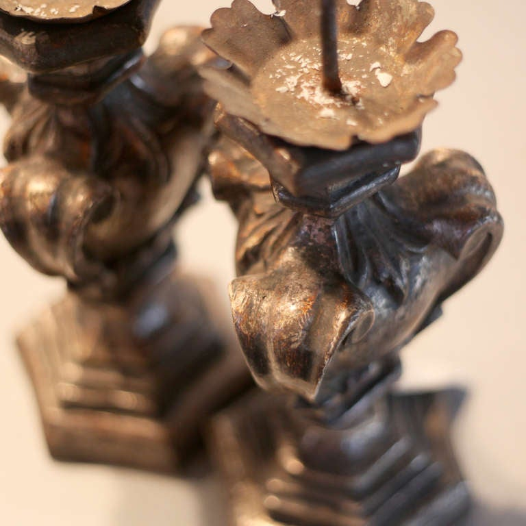 Italian Silver Gilded Candlestick Set For Sale