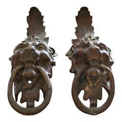 Pair Lion Head Bronze Drawer Pulls