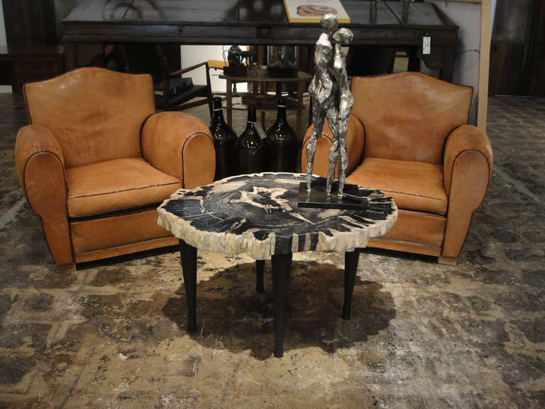 Large Petrified Wood Table with 4 Hand Forged Iron Legs at 1stdibs