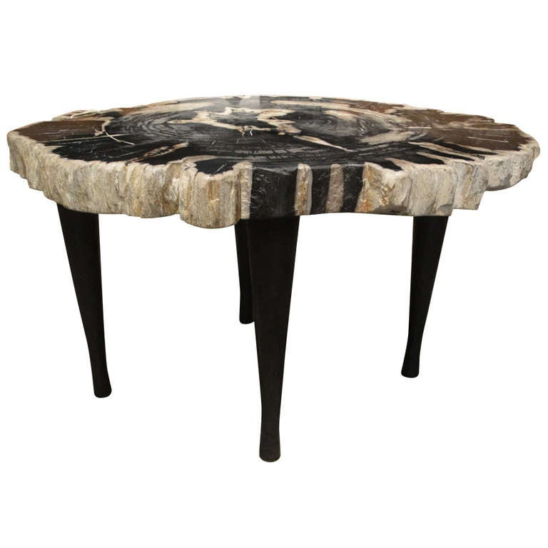 Large petrified wood table with 4 hand forged iron legs at for Wood table iron legs