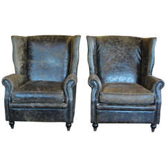 Pair of Leather Wingback Chair Set