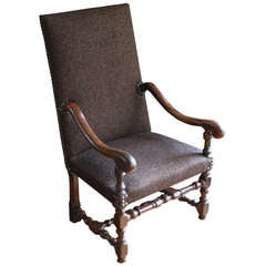 French Upholstered 18th Century High Back Armchair