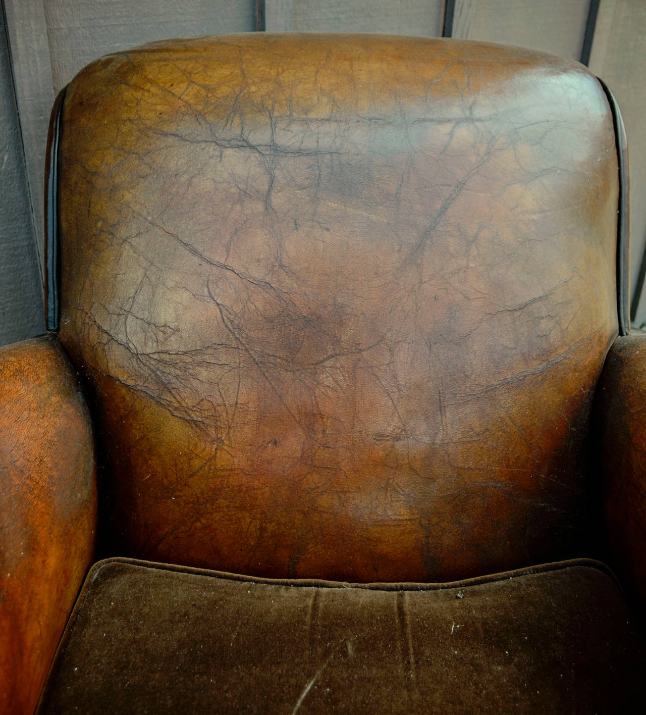 Pair of French Leather Club Chairs with Velvet Cushions For Sale 4