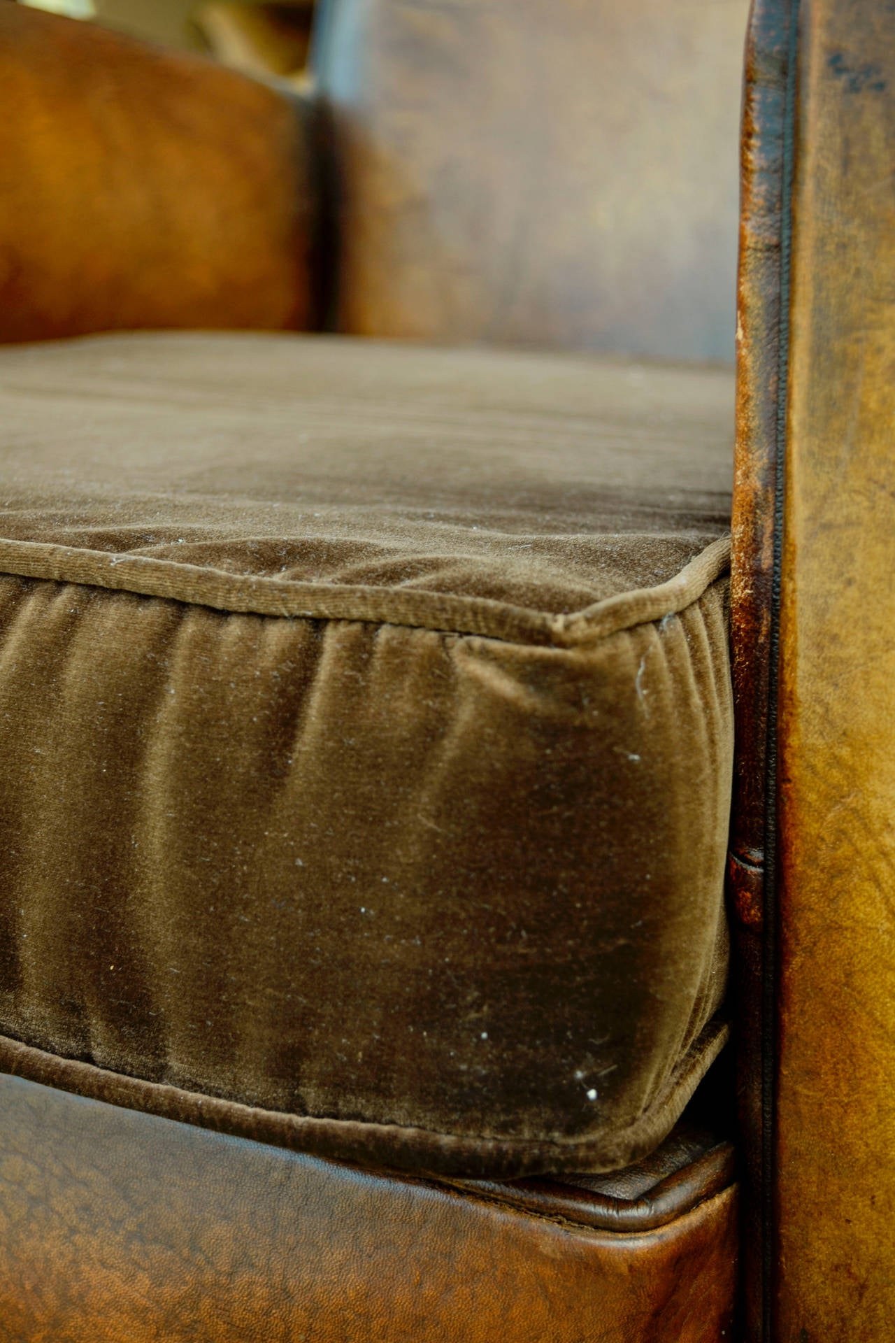 Pair of French Leather Club Chairs with Velvet Cushions For Sale 1