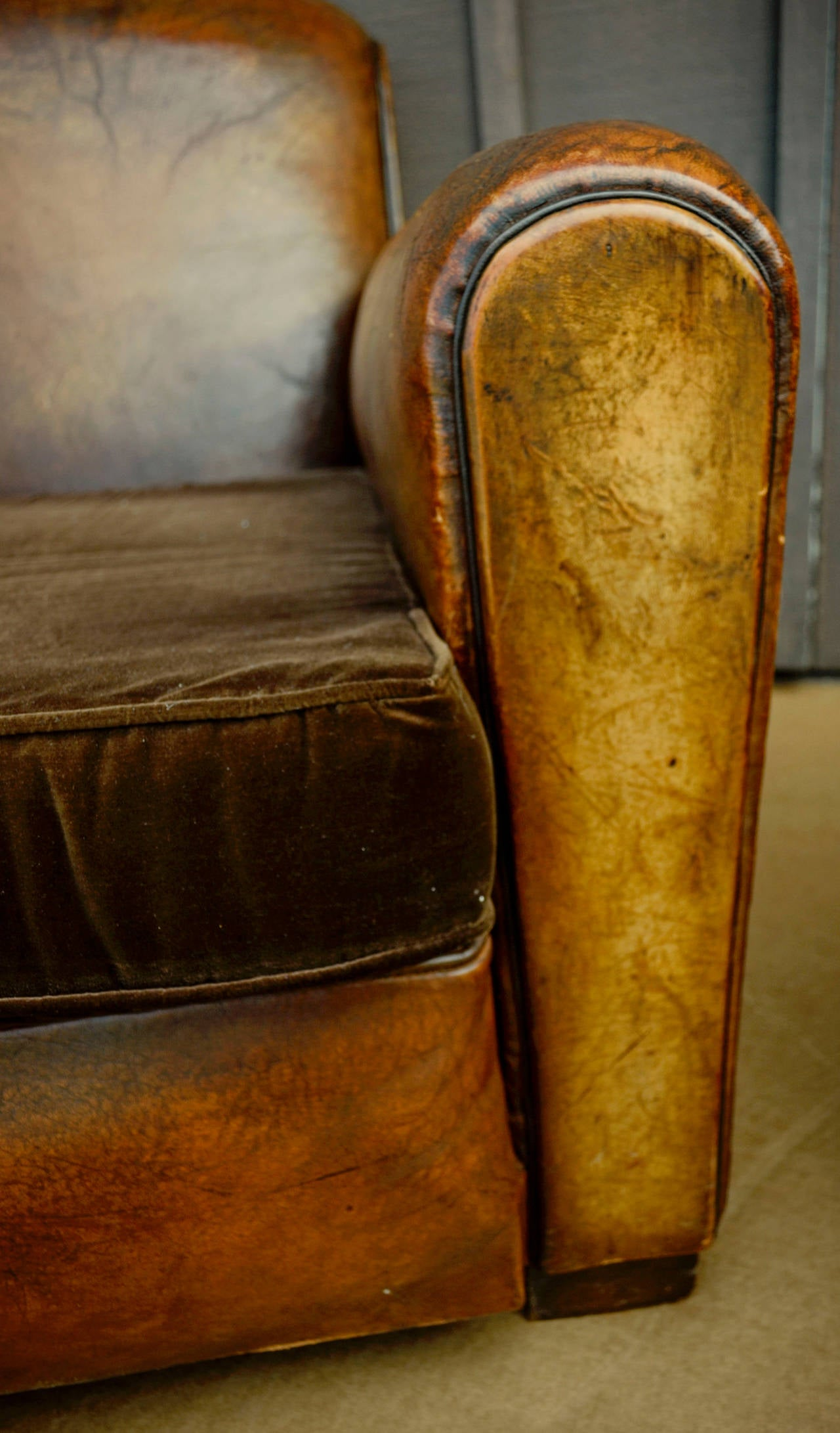 Pair of French Leather Club Chairs with Velvet Cushions For Sale 2