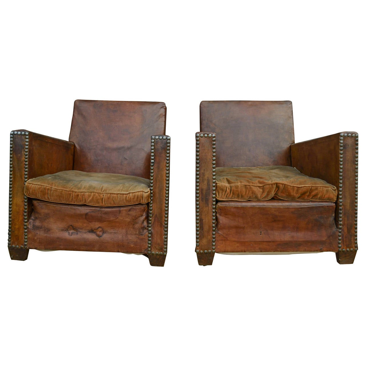 Pair Of Leather Club Chairs