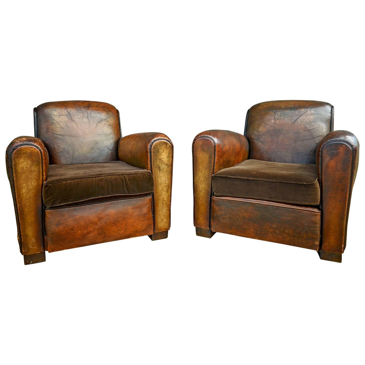 Attrayant Pair Of French Leather Club Chairs With Velvet Cushions For Sale